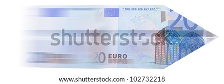Paper Euro plane isolated on white background