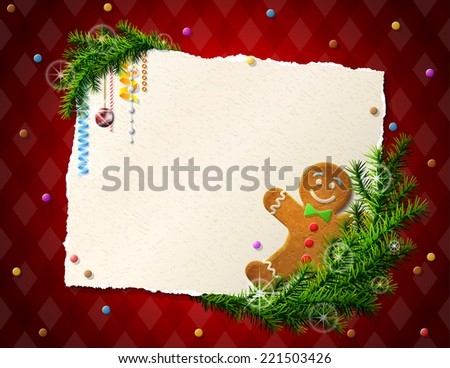 Paper for christmas list with gingerbread man. Cookie, pine branches and blank paper on checkered background. Illustration for new year's day, christmas, winter holiday, new year's eve, silvester, etc - stock photo