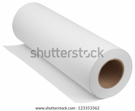 Paper for printers and engineering machines. Object is isolated on white background without shadows. - stock photo
