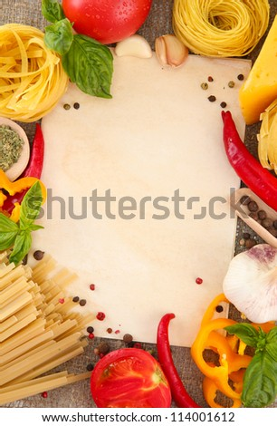 paper for recipes, spaghetti with vegetables and spices, on sacking background - stock photo