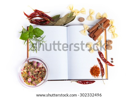 paper for recipes vegetables, and spices - stock photo
