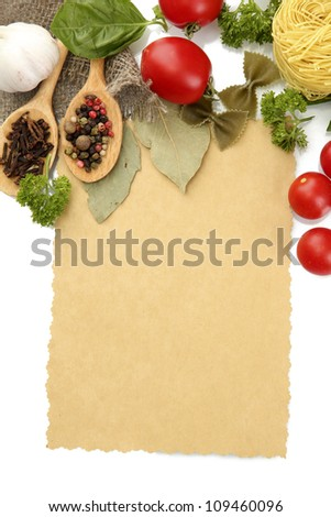 paper for recipes,vegetables and spices, isolated on white - stock photo