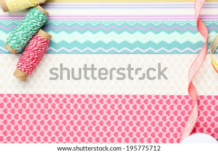Paper for scrapbooking and tools, close up - stock photo
