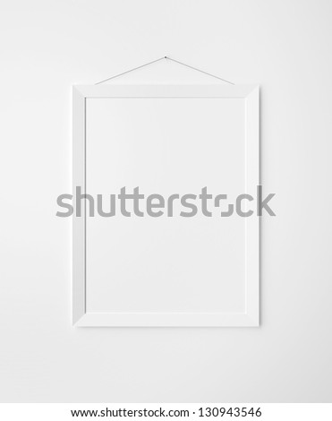 paper frames on white wall - stock photo
