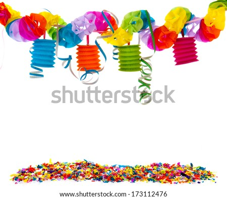 paper garland with Chinese lanterns and confetti - stock photo