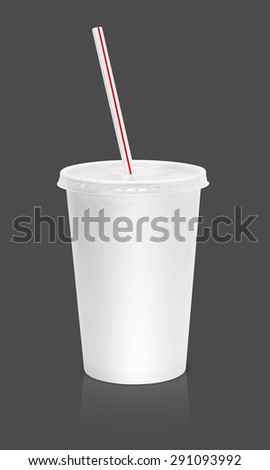 Paper glass beverage packaging with straw isolated on gray background
