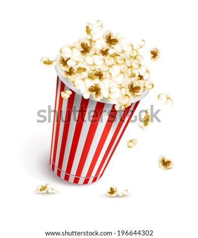 paper glass full of popcorn. Rasterized illustration. - stock photo