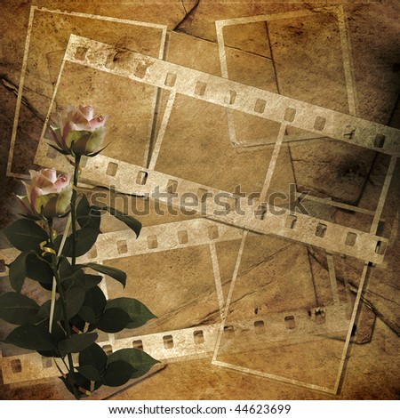 Paper grunge background with roses.