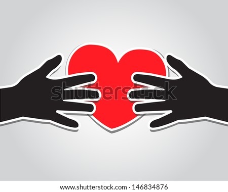 paper hand holding a red heart on a light background - stock photo