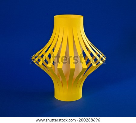 Paper handmade Lantern with Candlelight inside - stock photo