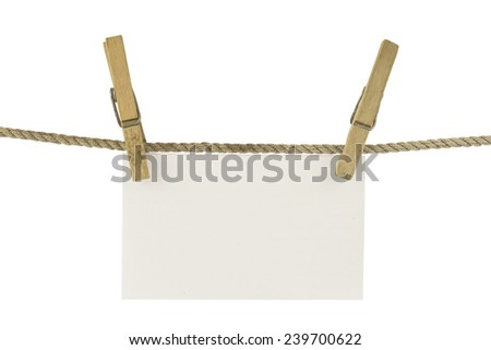 paper hang on clothesline - stock photo