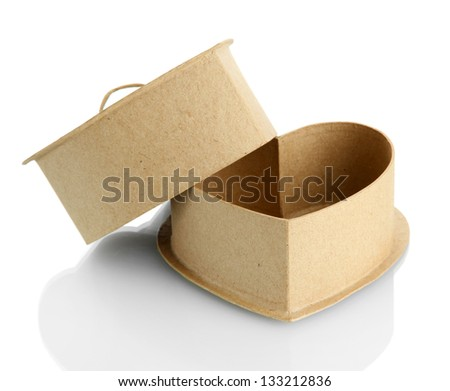 paper heart (box), isolated on white