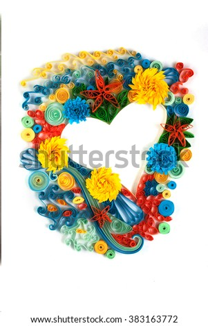 Paper heart made in quilling craft technic - stock photo