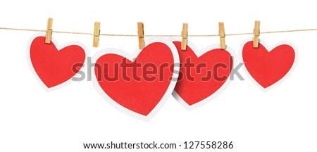 paper hearts hanging from a rope, on white background . Part of Valentines day set.
