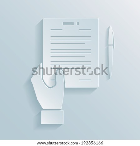 Paper icon of a hand holding a business offer  agreement or contract with a pen alongside for signing the deal - stock photo
