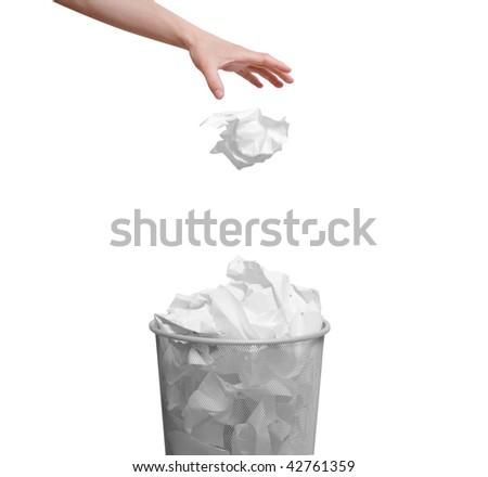 Paper in the bin - stock photo