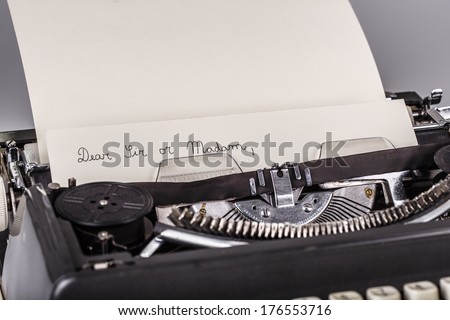 paper in typewriter with Dear Sir or Madam as text  - stock photo