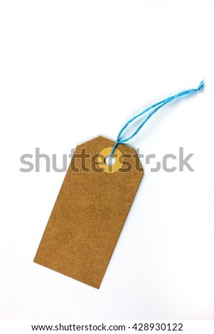 Paper Label with Blue Thread.