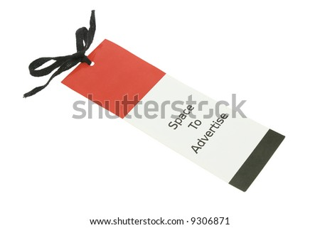"Paper label with ""space to advertise"" on white  background"