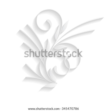 Paper lace ornament with shadow isolated on white.
