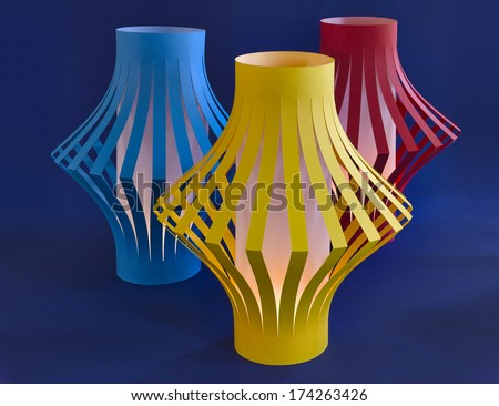Paper Lantern with Candlelight - stock photo