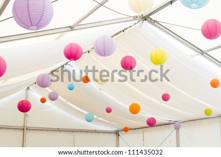 paper lanterns decoration - stock photo