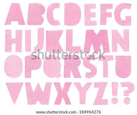 Paper letters. Latin alphabet on a white background. Handmade  - stock photo