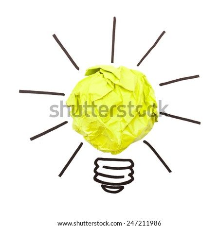 paper lightbulb on a white  - stock photo
