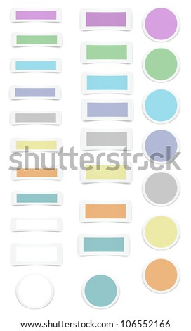 Paper looking tabs with color centers that are good for website and other uses - stock photo