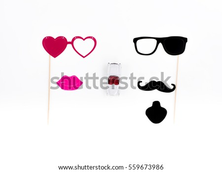 paper mustache and glasses, Paper Women's lips, set for wedding, red heart, Valentine's Day