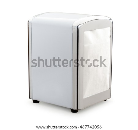 Paper napkin holder for restaurant on white background
