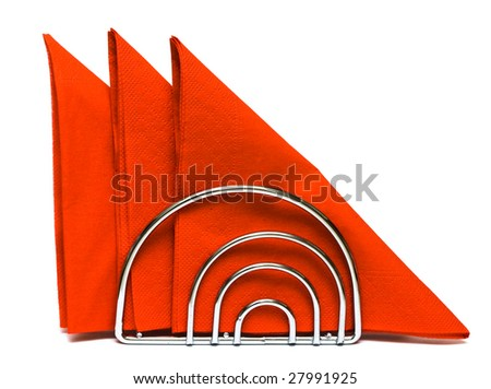 Paper napkins on white background - stock photo