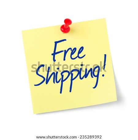 Paper note with text Free Shipping - stock photo