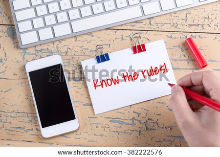 Paper note with text Know the rules! - stock photo