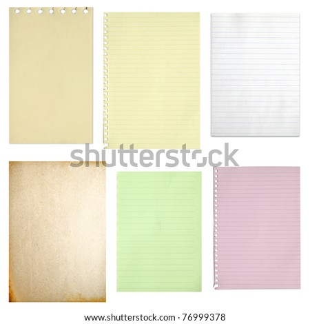 Paper notebook collection isolated on white background - stock photo