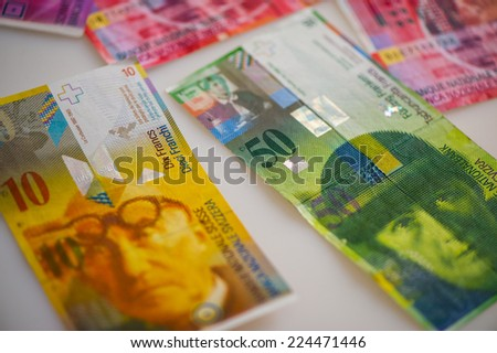 paper notes MONETARY UNIT, Switzerland - stock photo