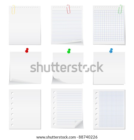 Paper notes with push pins Clips - stock photo