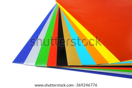 Paper of different colors isolated on white