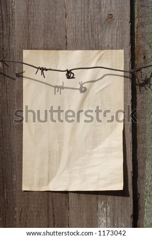paper on a wall - stock photo