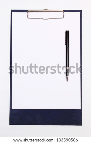 paper on Clipboard with pen - stock photo