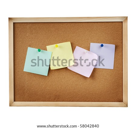 Paper on isolated cork notice board. - stock photo
