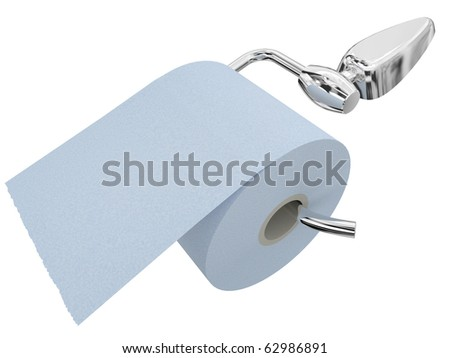 Paper on the steel holder for a toilet room isolated on a white background