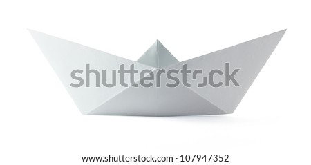 Paper origami boat on the white background - stock photo