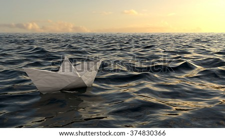 Paper origami ship floating on sea water