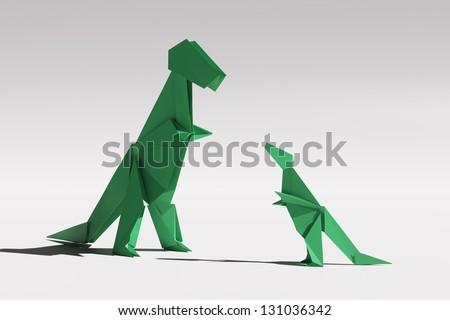 Paper origami Tyrannosaurus Rex family couple - mother and child standing and looking at each other isolated on white - stock photo