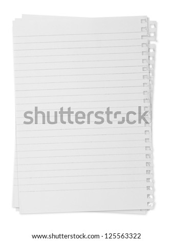 paper page notebook. textured isolated on the white backgrounds - stock photo