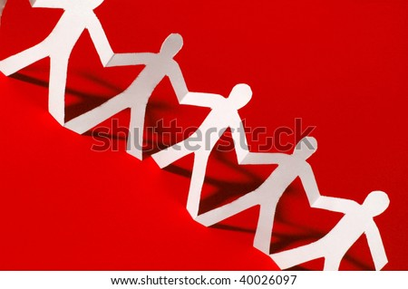paper people doing teamwork in their business - stock photo
