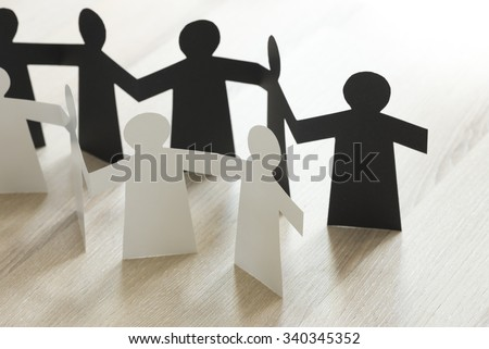 Paper people figures of Emirati people. Male and female graphic cutouts. - stock photo