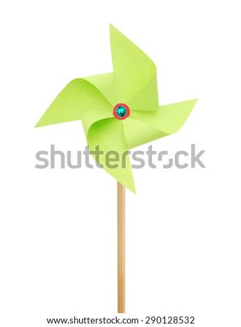Paper Pinwheels on white - stock photo