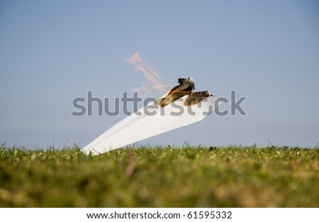 Paper plane crash - stock photo